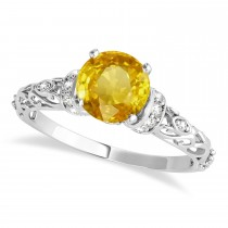Yellow Sapphire & Diamond Antique Style Engagement Ring 14k White Gold (1.12ct)
