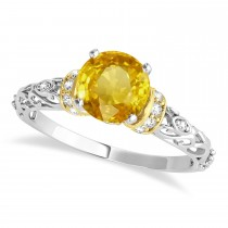 Yellow Sapphire & Diamond Antique Style Engagement Ring 18k Two-Tone Gold (1.12ct)