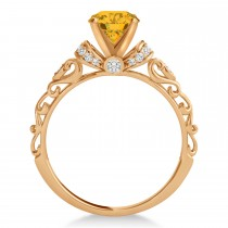 Yellow Sapphire & Diamond Antique Style Engagement Ring 14k Rose Gold (1.62ct)