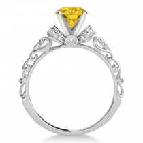 Yellow Sapphire & Diamond Antique Style Engagement Ring 14k White Gold (1.62ct)
