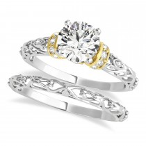 Diamond Antique Style Bridal Set 14k Two-Tone Gold (0.87ct)