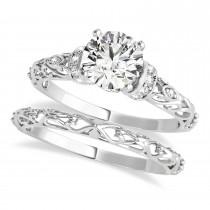 Diamond Antique Style Bridal Set Platinum (0.87ct)