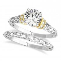 Diamond Antique Style Bridal Set 18k Two-Tone Gold (1.12ct)