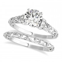 Diamond Antique Style Bridal Set 14k White Gold (1.62ct)