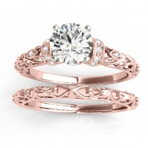 Diamond Antique Style Bridal Set Setting 14k Rose Gold (0.12ct)