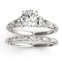 Diamond Antique Style Bridal Set Setting 14k White Gold (0.12ct)