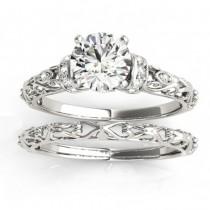 Diamond Antique Style Bridal Set Setting 14k White Gold (0.12ct)
