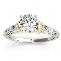 Diamond Antique Style Bridal Set Setting 14k Two-Tone Gold (0.12ct)