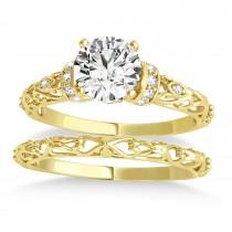 Diamond Antique Style Bridal Set Setting 18k Yellow Gold (0.12ct)