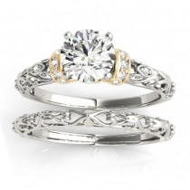 Diamond Antique Style Bridal Set Setting 18k Two-Tone Gold (0.12ct)