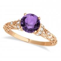 Amethyst & Diamond Antique Style Bridal Set 14k Rose Gold (1.62ct)