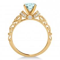 Aquamarine & Diamond Antique Style Bridal Set 14k Rose Gold (1.12ct)