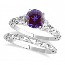 Alexandrite & Diamond Antique Style Bridal Set 14k White Gold (1.62ct)