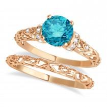Blue Diamond & Diamond Antique Style Bridal Set 14k Rose Gold (0.87ct)
