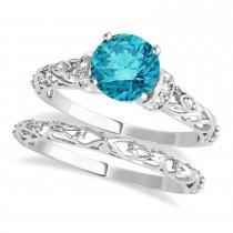 Blue Diamond & Diamond Antique Style Bridal Set 14k White Gold (0.87ct)
