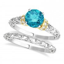 Blue Diamond & Diamond Antique Style Bridal Set 18k Two-Tone Gold (0.87ct)