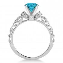 Blue Diamond & Diamond Antique Style Bridal Set Platinum (0.87ct)