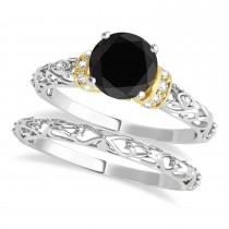 Black Diamond & Diamond Antique Style Bridal Set 18k Two-Tone Gold (0.87ct)