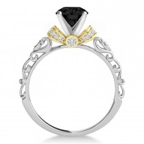 Black Diamond & Diamond Antique Style Bridal Set 14k Two-Tone Gold (1.62ct)