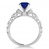 Blue Sapphire & Diamond Antique Style Bridal Set 18k White Gold (0.87ct)