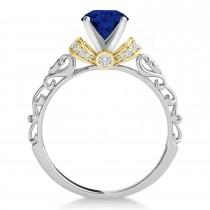 Blue Sapphire & Diamond Antique Style Bridal Set 18k Two-Tone Gold (1.62ct)