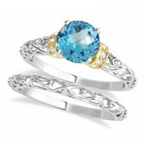 Blue Topaz & Diamond Antique Style Bridal Set 18k Two-Tone Gold (1.62ct)
