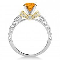 Citrine & Diamond Antique Style Bridal Set 18k Two-Tone Gold (0.87ct)