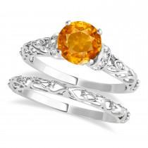 Citrine & Diamond Antique Style Bridal Set 14k White Gold (1.12ct)