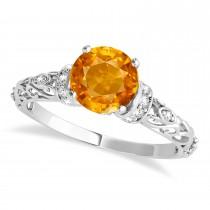 Citrine & Diamond Antique Style Bridal Set 14k White Gold (1.62ct)