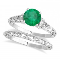 Emerald & Diamond Antique Style Bridal Set Palladium (0.87ct)