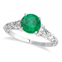 Emerald & Diamond Antique Style Bridal Set 14k White Gold (1.62ct)