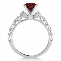 Garnet & Diamond Antique Style Bridal Set Palladium (0.87ct)