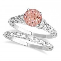 Morganite & Diamond Antique Style Bridal Set 14k White Gold (1.12ct)