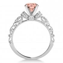 Morganite & Diamond Antique Style Bridal Set Palladium (1.62ct)