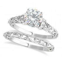 Moissanite & Diamond Antique Style Bridal Set 14k White Gold (0.87ct)