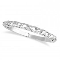Moissanite & Diamond Antique Style Bridal Set 14k White Gold (1.12ct)