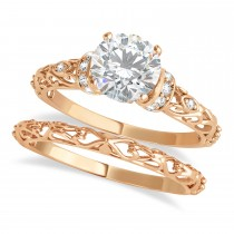 Moissanite & Diamond Antique Style Bridal Set 14k Rose Gold (1.62ct)