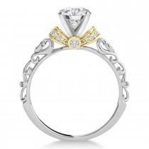 Moissanite & Diamond Antique Style Bridal Set 14k Two-Tone Gold (1.62ct)