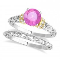 Pink Sapphire & Diamond Antique Style Bridal Set 18k Two-Tone Gold (1.12ct)