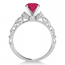 Ruby & Diamond Antique Style Bridal Set 14k White Gold (0.87ct)