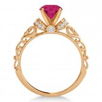 Ruby & Diamond Antique Style Bridal Set 14k Rose Gold (1.12ct)