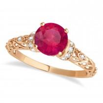Ruby & Diamond Antique Style Bridal Set 14k Rose Gold (1.62ct)
