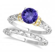 Tanzanite & Diamond Antique Style Bridal Set 18k Two-Tone Gold (1.12ct)