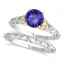 Tanzanite & Diamond Antique Style Bridal Set 14k Two-Tone Gold (1.62ct)