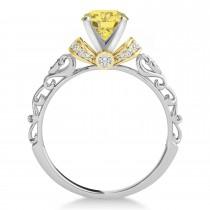 Yellow Diamond & Diamond Antique Style Bridal Set 14k Two-Tone Gold (0.87ct)