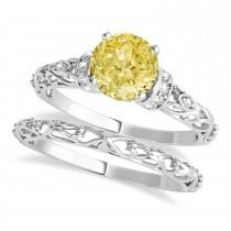 Yellow Diamond & Diamond Antique Style Bridal Set 14k White Gold (1.12ct)