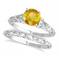 Yellow Sapphire & Diamond Antique Style Bridal Set 14k White Gold (1.12ct)