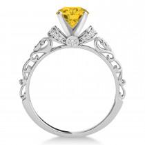 Yellow Sapphire & Diamond Antique Style Bridal Set 14k White Gold (1.12ct)