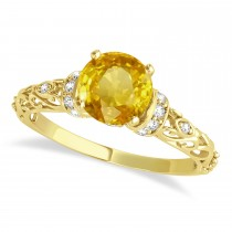 Yellow Sapphire & Diamond Antique Bridal Set 14k Yellow Gold (1.12ct)
