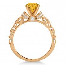 Yellow Sapphire & Diamond Antique Style Bridal Set 14k Rose Gold (1.62ct)